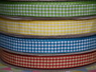 Red, Blue, Yellow & Green Gingham Ribbon. School Colours (R06)
