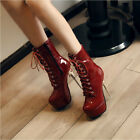 lace-up Women's Patent leather Boots Casual Ankle stiletto High Heel Boots