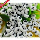 50 pcs 4x7mm Acrylic Individual Alphabet Letter Coin Round Flat Spacer Beads
