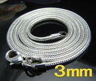 XMAS wholesale 925sterling solid silver 3mm snake chain necklace 16-24inch N302