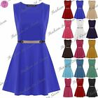 Womens Ladies Gold Belted Flared Franki Sleeveless Party Skater Dress Plus Size
