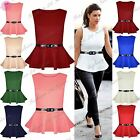Womens Ladies Sleeveless Belted Peplum Frill Skater Mini Dress Top Plus Size