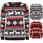 Mens Womens Christmas Knitted Unisex Reindeer Fairisle Pullover Sweater Jumper