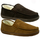 NEW MENS COMFORT FLAT FLEECE FUR LINED WARM WINTER CASUAL SLIPPERS SHOES DRIVING