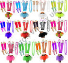 NEON TUTU SKIRT GLOVES LEGWARMER AND NECKLACE SET 80's FANCY DRESS COSTUME