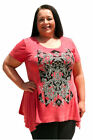 Vocal PLUS SIZE Women's Stretch Ribbed Tunic Top with Tribal Print and Stones