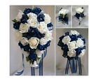 Brides,Bridesmaids Wedding Bouquet Flowers   Navy Blue/ White or Ivory
