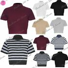 Womens Ladies Striped Knitted Cap Sleeve Roll Polo Turtle Neck Ribbed Crop Top