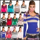 Striped Women's Jumper Sexy Ladies V-Neck Sweater One Size 8,10,12,14 UK New