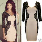 Womens Celeb Evening Black Lace Long Sleeve Cocktail Ladies Bodycon Party Dress