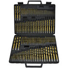 115pc Titanium Drill Bit Set Steel & Wood Carpenter Masonry Hobby w/ Index Case