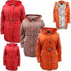 New Ladies Puffer Heavy Padded Women Long Coat Winter Belted Parka Hooded Jacket