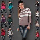 Women's Knitted Striped Turtleneck Pullover Sweater - S/M (US 2-4-6)