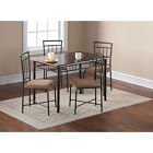 5 Piece Dining Set Breakfast Furniture  Wood Metal 4 Chairs and Table Kitchen