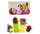 Hot Baby Infant Garden Cute Bug Finders Toys Wrist Watchs Foot Socks Rattles 0+