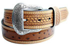 Men's Nocona Western Belt Embossed Ostrich Brown Leather Rodeo 3.8cm New