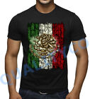 Distressed Mexican Flag Black T Shirt Mexico Beast Soccer Biker Muscle Tee