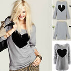 Fashion Women Ladies Heart Print Long Sleeve Casual Loose T shirt Tops Blouse