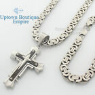 """24"""" men stainless steel Silver Black cross pendant 8mm box necklace chain link 1"""