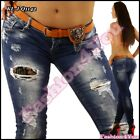 Sexy Womens Skinny Jeans Ladies Ripped Hipsters with Belt Size 6,8,10,12,14 UK