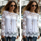 New Sexy Women Sheer Sleeve Embroidery Lace Crochet Tee Chiffon Shirt Top Blouse