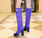 NEW women lady knee high boots warm down pull on block heels candy color winter