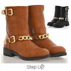 NEW Women's Faux Leather Buckle/ Chain Detail Casual Winter Ankle Boots