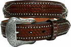 "Men's Nocona Western Belt Brown Tan Ostrich Leather Rodeo 1.5"" New Casual"