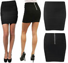 Womens Ladies Rib Panel Bandage Bodycon Party Mini Skirt With Back Zip Size 8-14