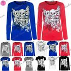 Womens Ladies Glittery 3 Skull Heads Forever Young Pullover Tshirt Top Plus Size