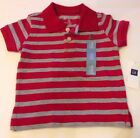 NWT babyGap boys cotton Striped polo/tshirt 3-6 Months Red And Gray