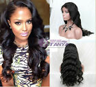 Beauty body wavy 100% India remay human hair full/front lace wig 130% density