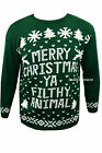 New Mens Womens Xmas Jumpers Novelty Sweater Home Alone Green Pullover UK Size