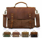 "Canvas Leather Briefcase CrossBody 14"" Laptop Shoulder Messenger Bag Satchel"