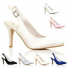 WOMENS LADIES GIRLS HIGH HEEL SLING BACK SATIN PUMPS PROM PARTY BRIDAL SHOE SIZE