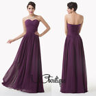 Dark Purple Chiffon Strapless Prom Bridesmaid Wedding Maxi Dress Size AU6-20