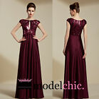 Wine Red Satin Embellished Evening Prom Bridesmaid Ball Wedding Gown Maxi Dress