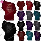 Womens Ladies Fine Knitted One Shoulder Bardot Batwing Short Sleeve Jumper Tops