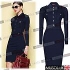 Womens Collared Long Sleeve Slim Fit Pencil Bodycon Dresses Tops Shirt Size 8-18