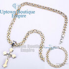 """24"""" men stainless steel Gold silver cross pendant box necklace chain set x1"""