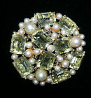 Vintage Faux Pearl/Light Yellw Crystal Cocktail Brooch/Pin