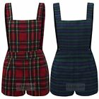 WOMENS TARTAN PLAID CHECK STRIPED LADIES PLAYSUIT PINAFORE SHORT DUNGAREE DRESS