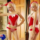 Sexy CANDY STRIPED CHRISTMAS COSTUME with Hat  Santa Fancy Dress Sz 8-10 S