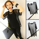 Royal Women See through Sheer Mesh Short Sleeve Sweet Shirt Oversize Tops Blouse