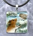 Handmade Pendant Necklace Jewelry Hamster 12 bird art painting L.Dumas