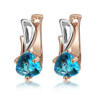 Follom Top Woman 18k Fashion Rose Gold Plated Blue Crystal Gems Charm Earrings