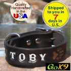 "Black/Espresso 1"" Custom Handmade Leather Dog Collar, Personalized K9 Pet Name"