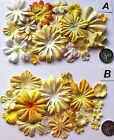 SCRAPBOOKING NO 47 - 16 YELLOW PRIMA PAPER FLOWERS - 2 DIFFERENT PACKS AVAILABLE