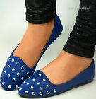 New Womens Ballerina Ballet Dolly Pumps Ladies Royal Blue Flats Shoes Studs Size