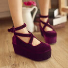 Womens Goth Ankle Cross Strap Platform faux suede  creeper shoes Wedge Heels